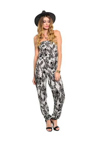 Strapless Tribal Print Slim Leg Jumpsuit