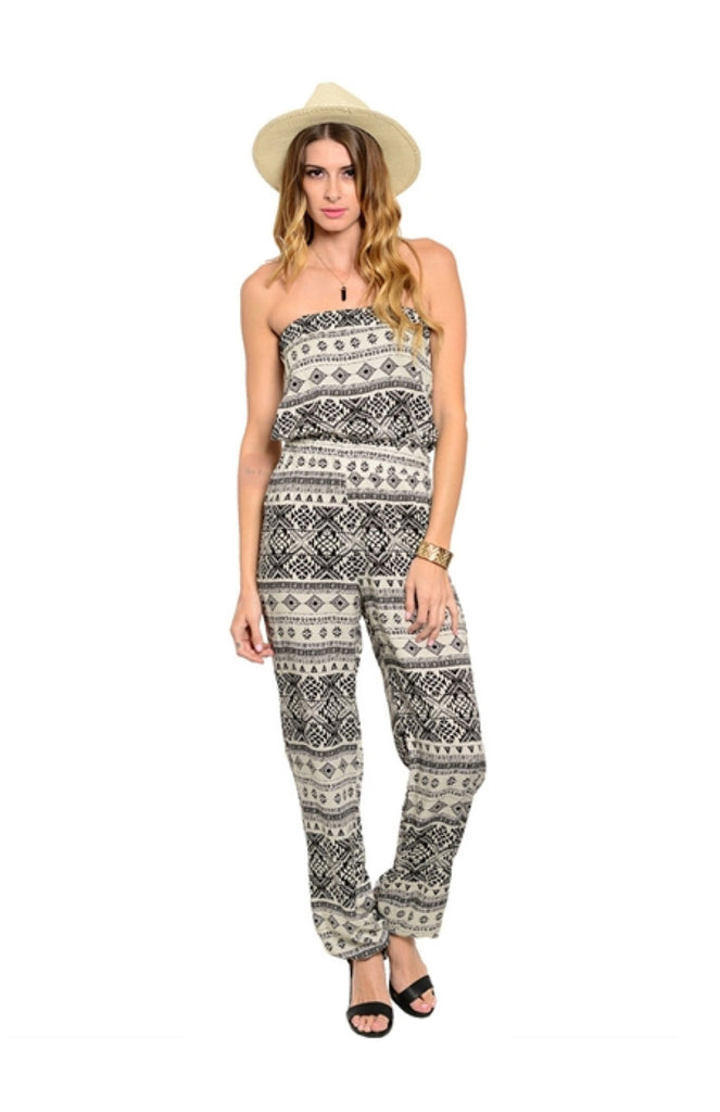 Strapless Tribal Print Slim Leg Jumpsuit - BodiLove | 30% Off First Order  - 5