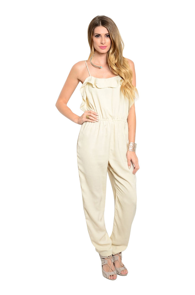 Spaghetti Strap Ruffle Flounce Slim Fit Jumpsuit - BodiLove | 30% Off First Order  - 1