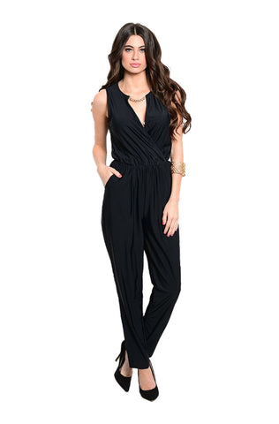 Sleeveless V-Neck Slim Fit Jumpsuit