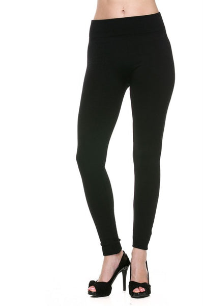 Trendy Solid Color Fleece Leggings - BodiLove | 30% Off First Order  - 1