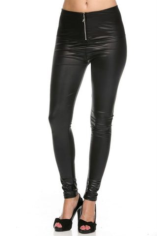 Liquid Faux Leather Zipper Front Leggings