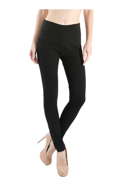 Skinny Ponte Dress Pants W/ Elastic Waistband - BodiLove | 30% Off First Order  - 1