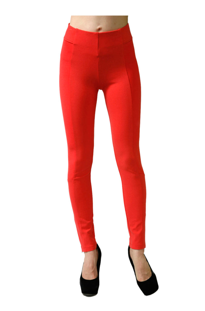 Skinny Ponte Dress Pants W/ Elastic Waistband | 30% Off First Order | Coral-Zipper