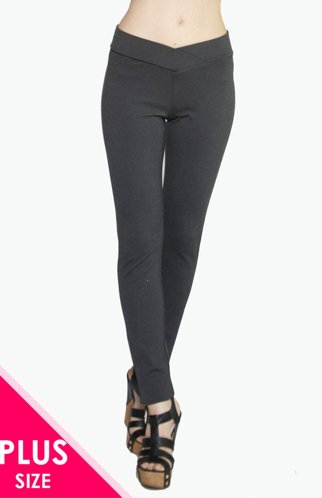 Stretch Ponte Pants with Tipped Waistband | 30% Off First Order | charcoal