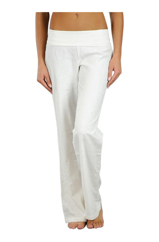 Wide Leg Linen Pants W/ Fold Over Waistband