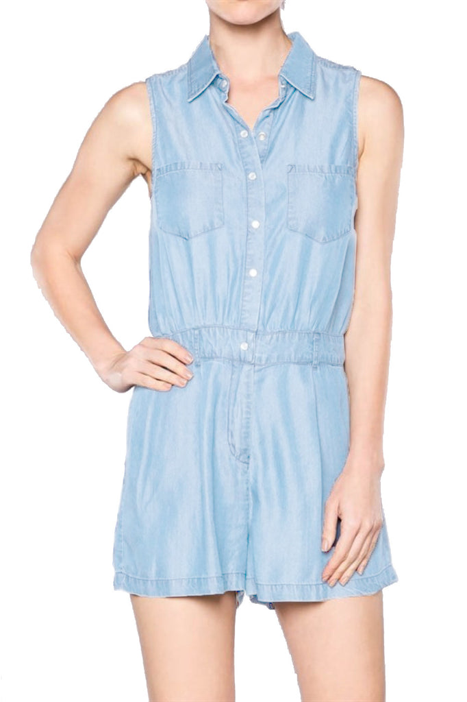 Sleeveless Tencel Denim Romper | 30% Off First Order | Denim Light