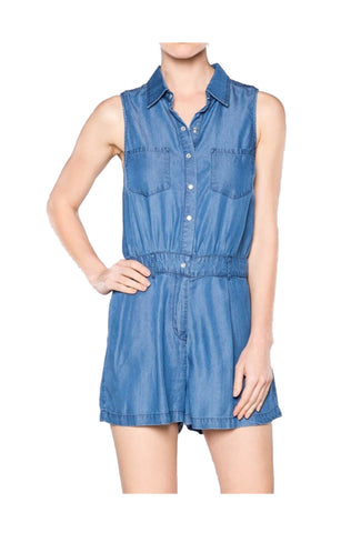 Sleeveless Tencel Denim Romper