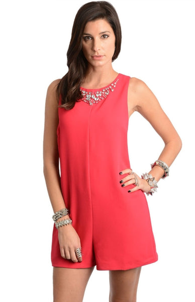 Embellished Neckline Sleeveless Romper - BodiLove | 30% Off First Order  - 1