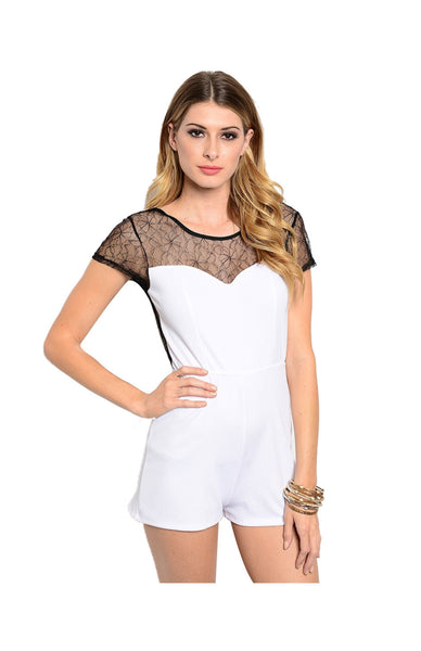 Cap Sleeve Romper W/ Lace Neckline - BodiLove | 30% Off First Order  - 1