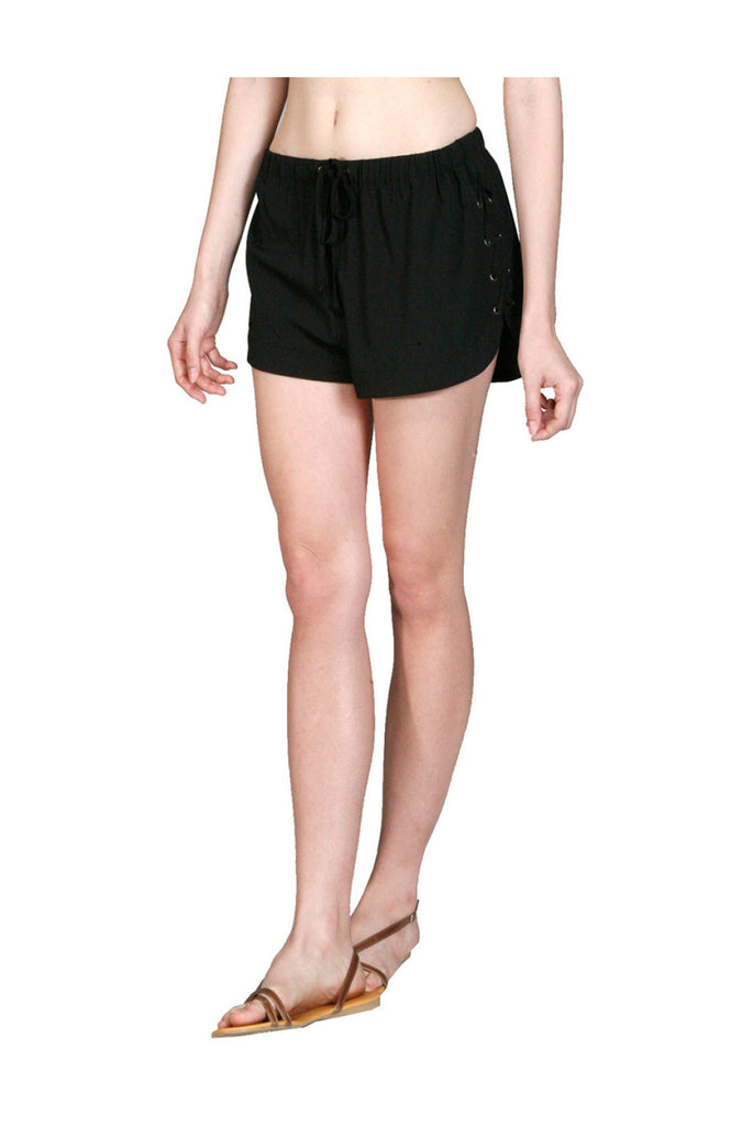 Drawstring Jogger Shorts W/ Lace Up Sides - BodiLove | 30% Off First Order  - 1