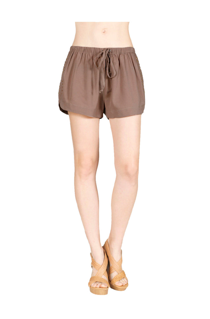 Drawstring Jogger Shorts W/ Studded Sides - BodiLove | 30% Off First Order  - 5