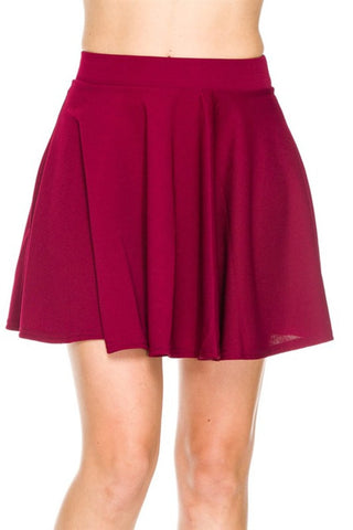 Solid Flared A-Line Skater Skirt