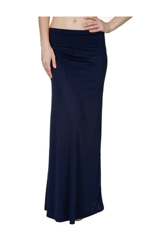 Solid Color High Waisted Maxi Skirt