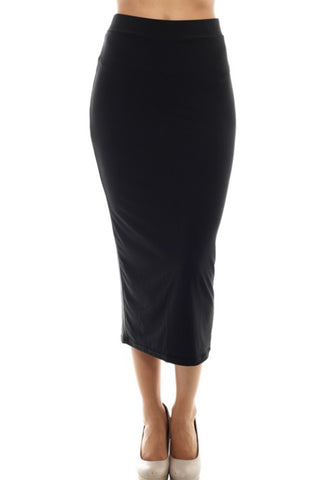 Solid High Waisted Bodycon Midi Skirt