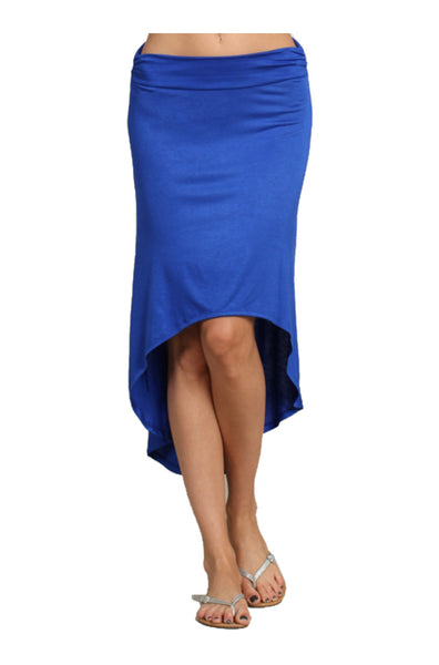 High Waisted Jersey Knit Hi-Low Skirt | 30% Off First Order | Royal Blue