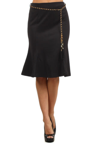 High Waisted Flared A-Line Knee Length Skirt