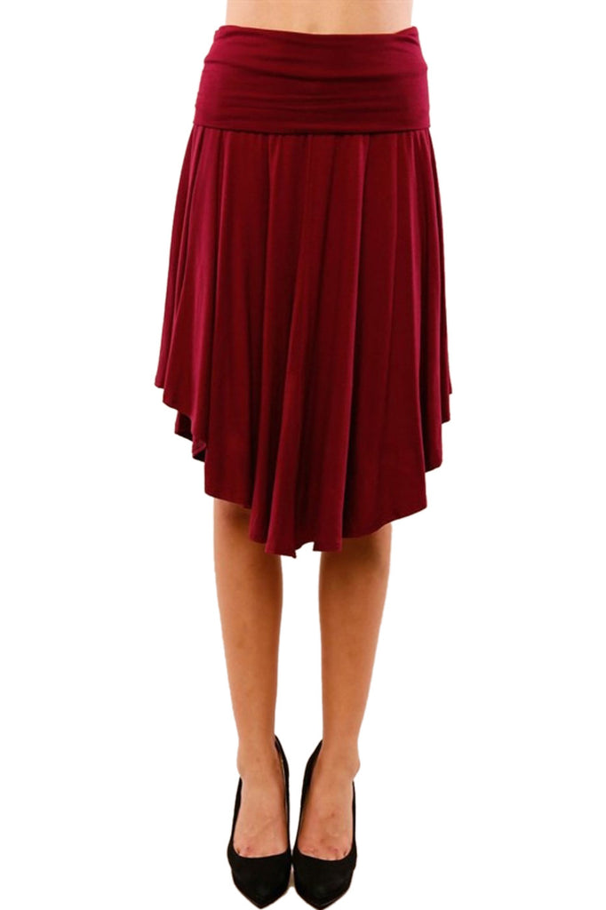 Dressy High Waisted Knit Hi-Low Midi Skirt - BodiLove | 30% Off First Order - 3 | Burgundy