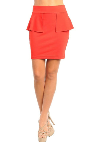 Side Peplum Pencil Skirt