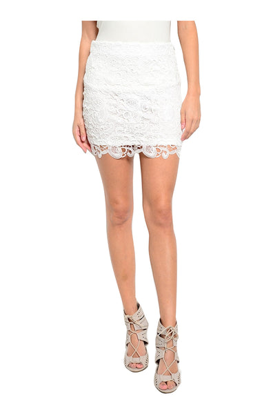 Dressy Crochet Lace Pencil Skirt | 30% Off First Order | White-Mini