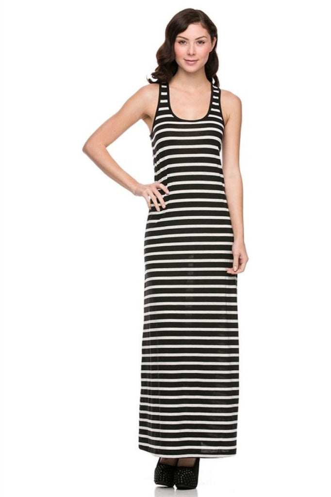 Floor Length Striped Scoopneck Dress - BodiLove | 30% Off First Order  - 1