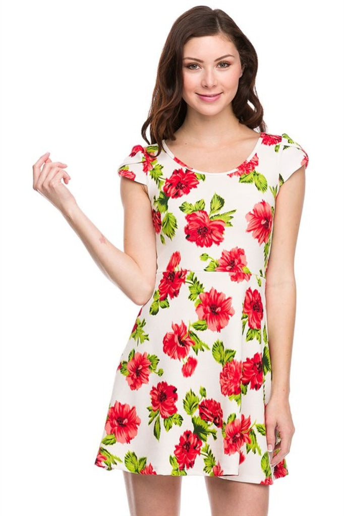 Cap Sleeve Fit & Flare Cocktail Dress | 30% Off First Order | Ivory-Floral