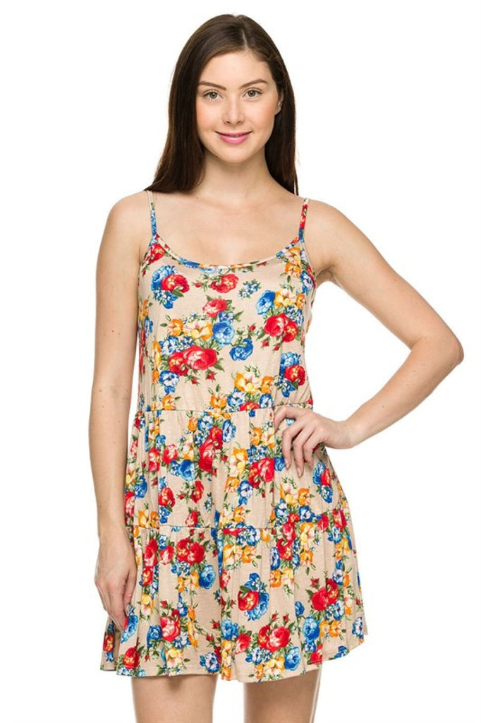 Tiered Spaghetti Strap Babydoll Sun Dress | 30% Off First Order | Nude-Floral