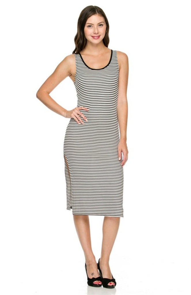 Sleeveless Striped Bodycon Midi Dress - BodiLove | 30% Off First Order  - 1