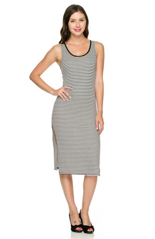 Sleeveless Striped Bodycon Midi Dress