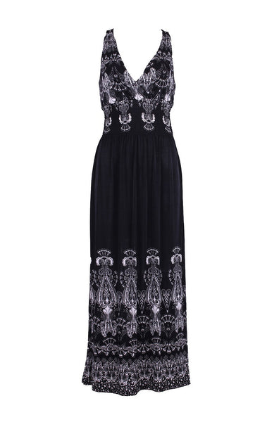 Sleeveless Antique Design Maxi Resort Holiday Summer Dress with Lace Back - BodiLove | 30% Off First Order  - 1