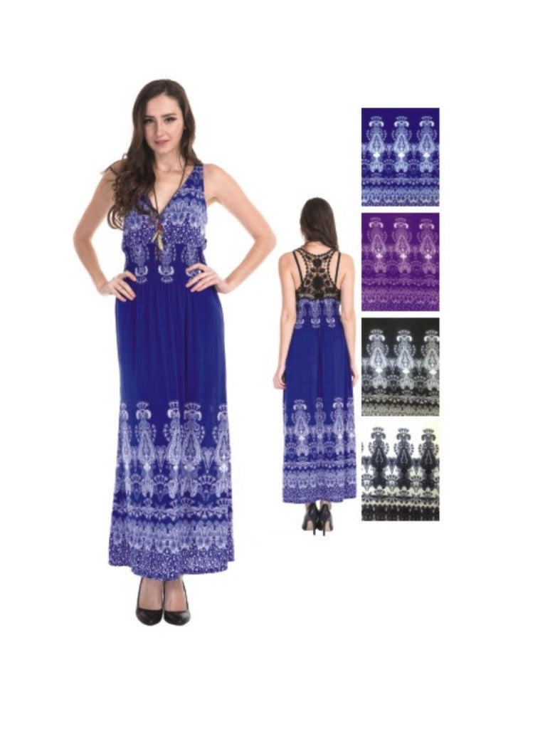 Sleeveless Antique Design Maxi Resort Holiday Summer Dress with Lace Back - BodiLove | 30% Off First Order  - 10