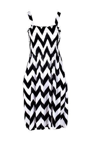 Two-Tone Chevron Prints Easy-Fit Midi/Mini Summer Holiday Resort Beach Dress