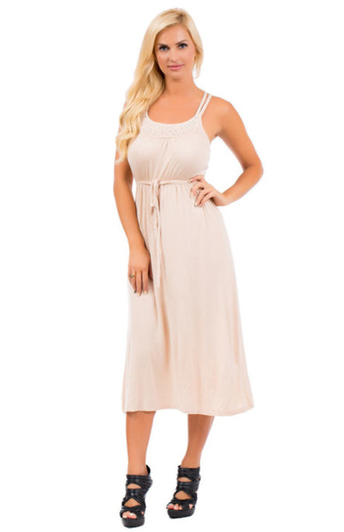 Sleeveless Midi Dress W/ Embellished Neckline - BodiLove | 30% Off First Order  - 1