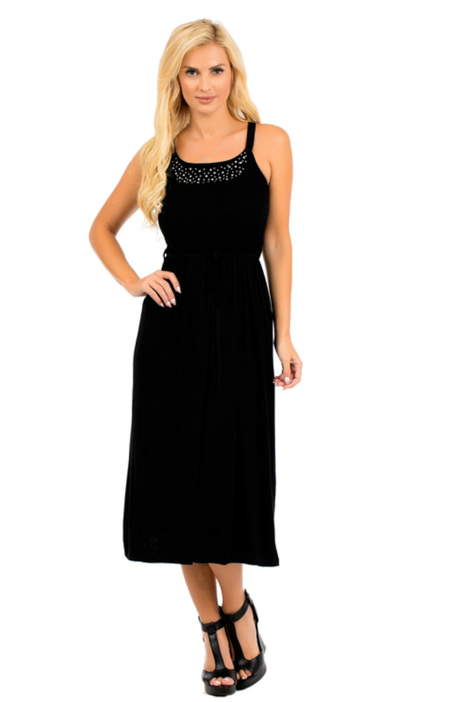 Sleeveless Midi Dress W/ Embellished Neckline - BodiLove | 30% Off First Order  - 4