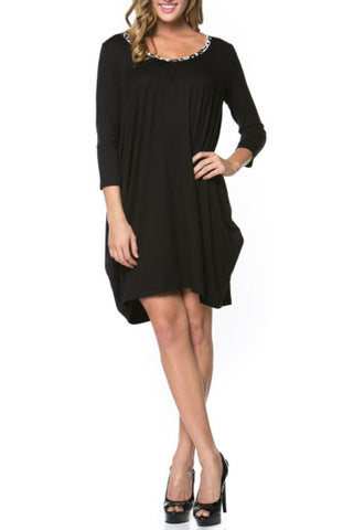 3/4 Sleeve A-Line Tunic Dress
