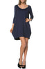 3/4 Sleeve A-Line Tunic Dress - BodiLove | 30% Off First Order  - 9