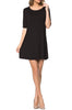 Short Sleeve A-Line Tunic Dress | 30% Off First Order | Black