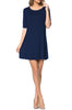 Short Sleeve A-Line Tunic Dress | 30% Off First Order | Navy