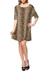 Short Sleeve A-Line Tunic Dress | 30% Off First Order | Brown-Cheetah