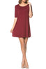Short Sleeve A-Line Tunic Dress | 30% Off First Order | Burgundy