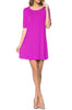 Short Sleeve A-Line Tunic Dress | 30% Off First Order | Magenta