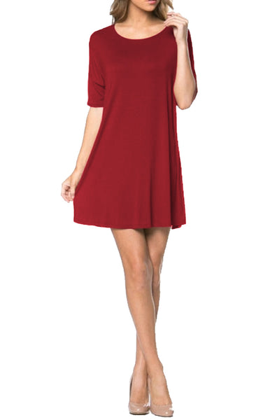 Short Sleeve A-Line Tunic Dress | 30% Off First Order | Red