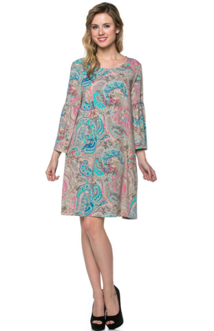 3/4 Bell Sleeve Oversize Tunic Dress