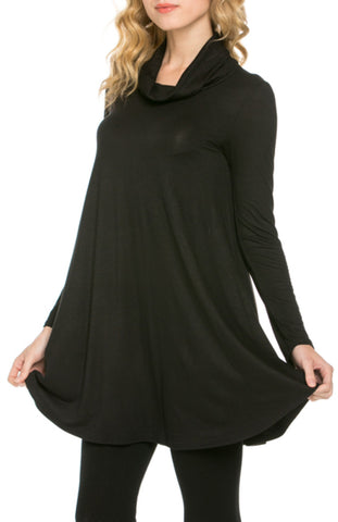 Long Sleeve Cowl Neck A-Line Tunic Dress