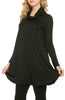 Long Sleeve Cowl Neck A-Line Tunic Dress - BodiLove | 30% Off First Order - 1