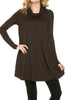 Long Sleeve Cowl Neck A-Line Tunic Dress - BodiLove | 30% Off First Order - 5