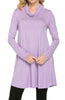 Long Sleeve Cowl Neck A-Line Tunic Dress - BodiLove | 30% Off First Order - 13