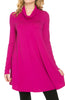 Long Sleeve Cowl Neck A-Line Tunic Dress - BodiLove | 30% Off First Order - 17