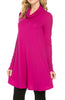 Long Sleeve Cowl Neck A-Line Tunic Dress - BodiLove | 30% Off First Order - 20