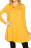 Long Sleeve Cowl Neck A-Line Tunic Dress - BodiLove | 30% Off First Order - 21
